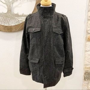KR3W Krew Wool Blend City Coat Gray Tweed